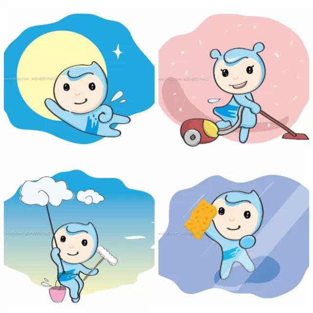 保洁公司吉祥物,保洁公司卡通形象,美汐清洁
